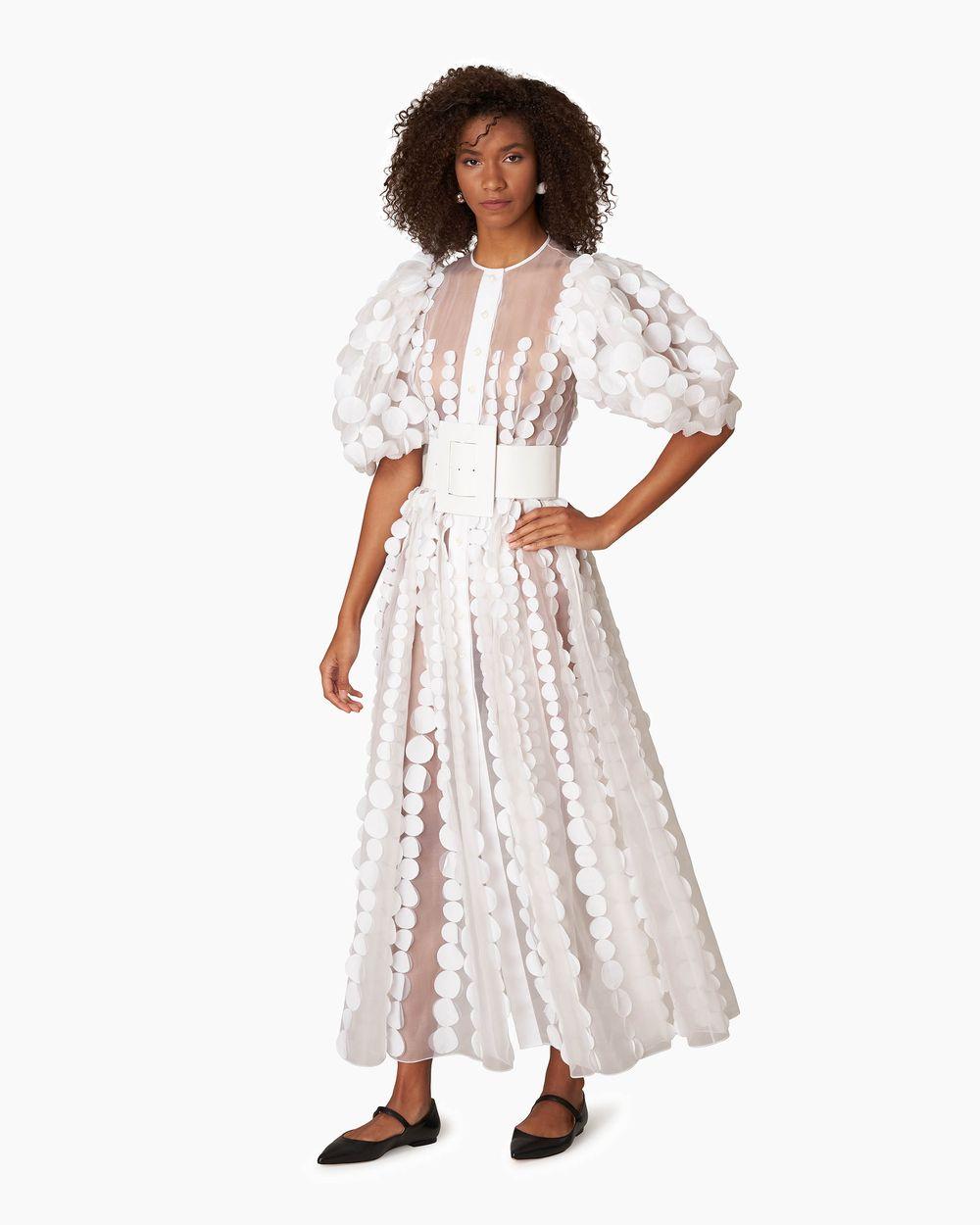 Details about  /Carolina Herrera Navy Blue White Sequin-embellished Silk Faille Dress
