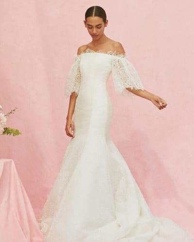 model wearing Carolina Herrera New York Bridal dress