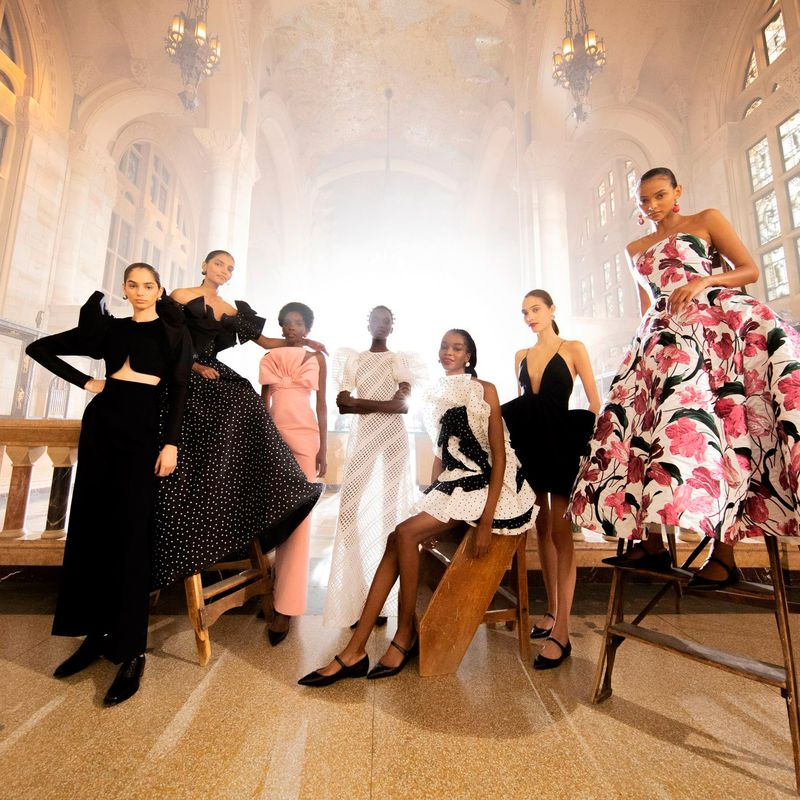 models wearing carolina herrera new york spring 2021 collection posing after runway show