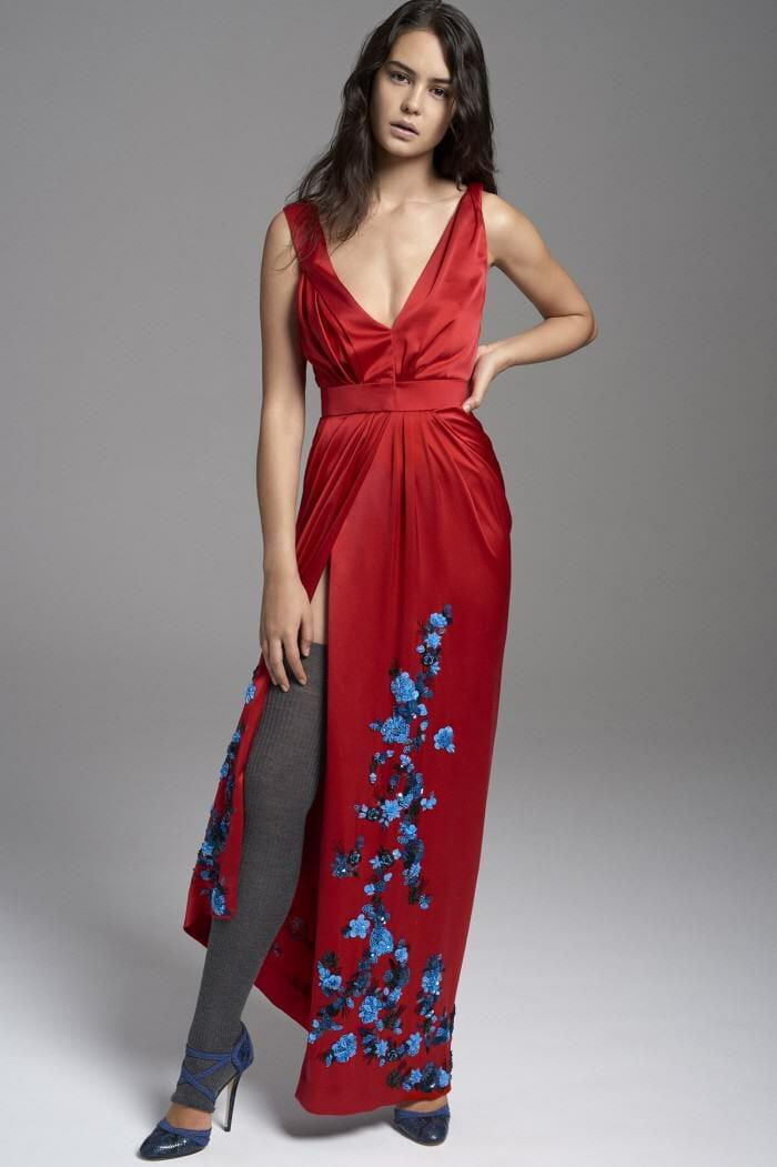 Carolina Herrera New York Pre Fall 2017 Look Courtney Eaton Wearing New Collection Red Dress