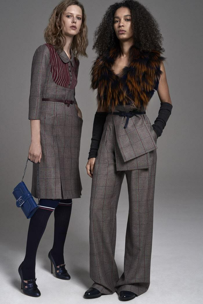 Carolina Herrera New York Pre Fall 2017 Look Models Wearing New Collection Grey Suit