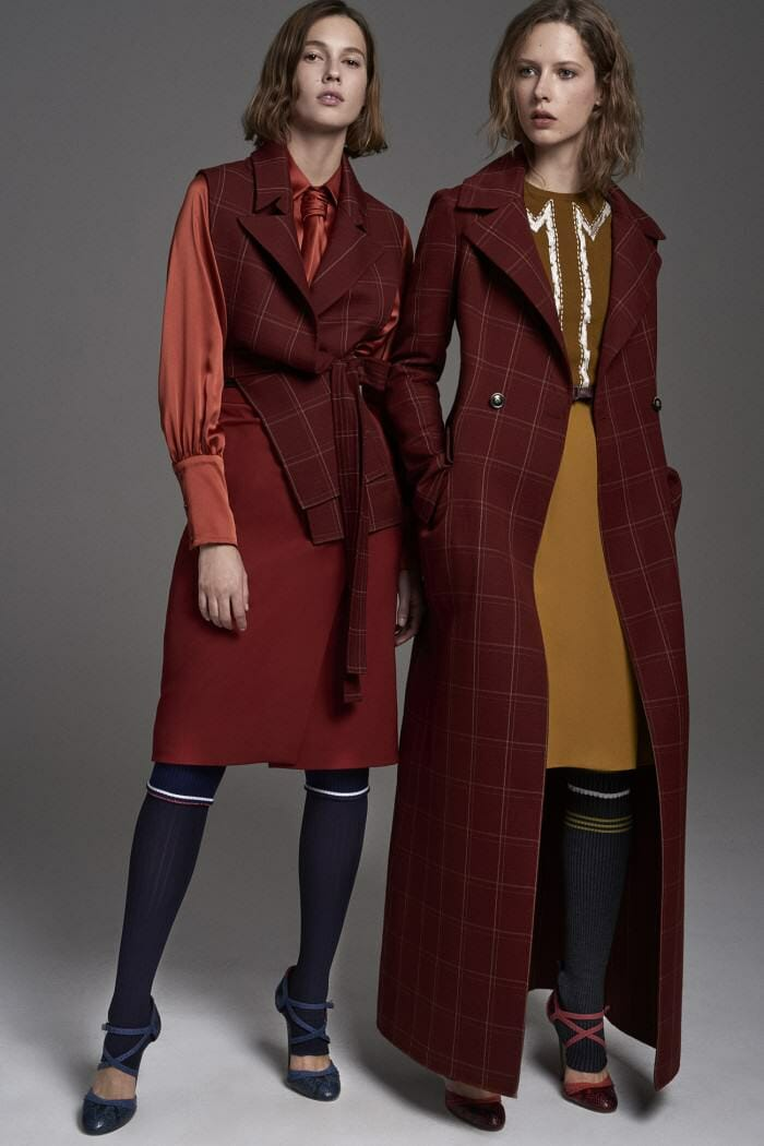 Carolina Herrera New York Pre Fall 2017 Look Models Wearing New Collection Bordeaux Jacket Suit Dress