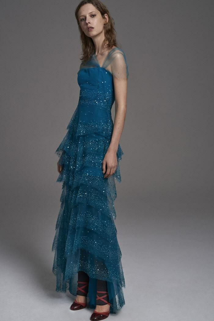 Carolina Herrera New York Pre Fall 2017 Look Model Wearing New Collection Long Blue Dress