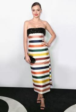 Miranda Kerr Wearing Carolina Herrera Resort 2017 Striped Strapless Gown For Harper's Bazaar Fashion Event