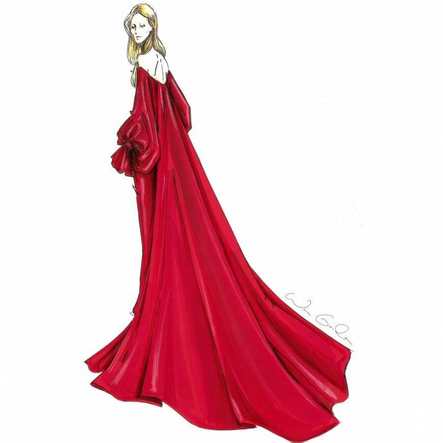 Lady Gaga wears custom Carolina Herrera New York
