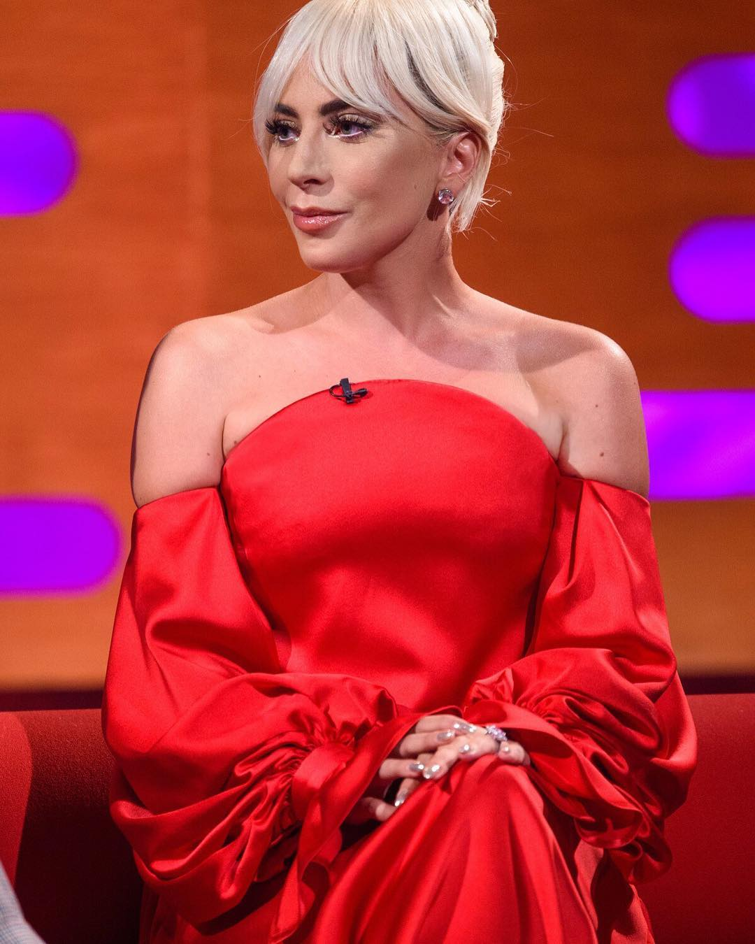 Lady Gaga wears custom Carolina Herrera New York