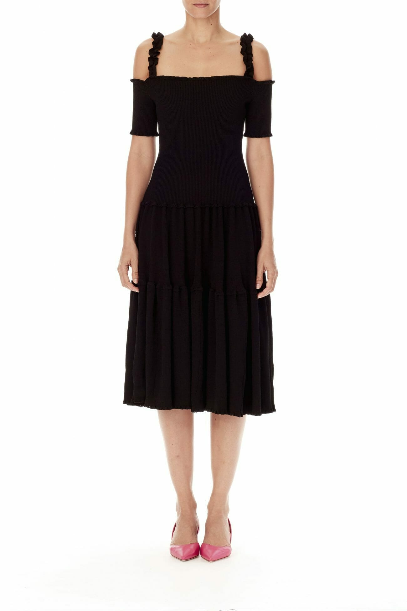 Carolina-Herrera-New-York-Resort-2019-look-148-black-dress-lbd-elegant-shoulders-off-middle-lenght