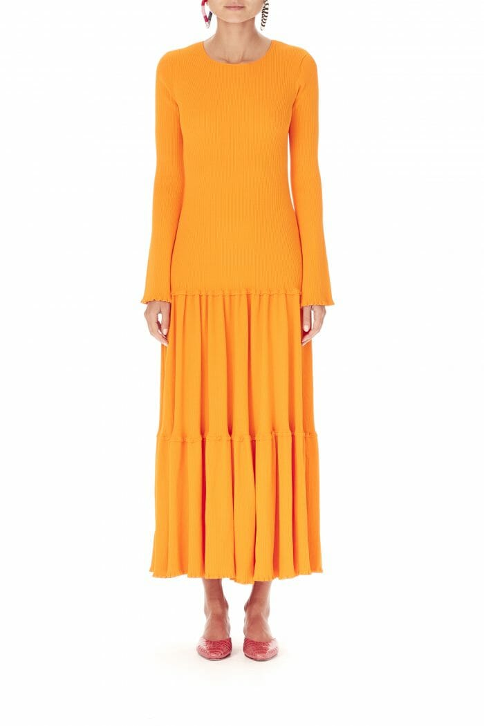Carolina-Herrera-New-York-Resort-2019-look-149-orange-dress-long-casual