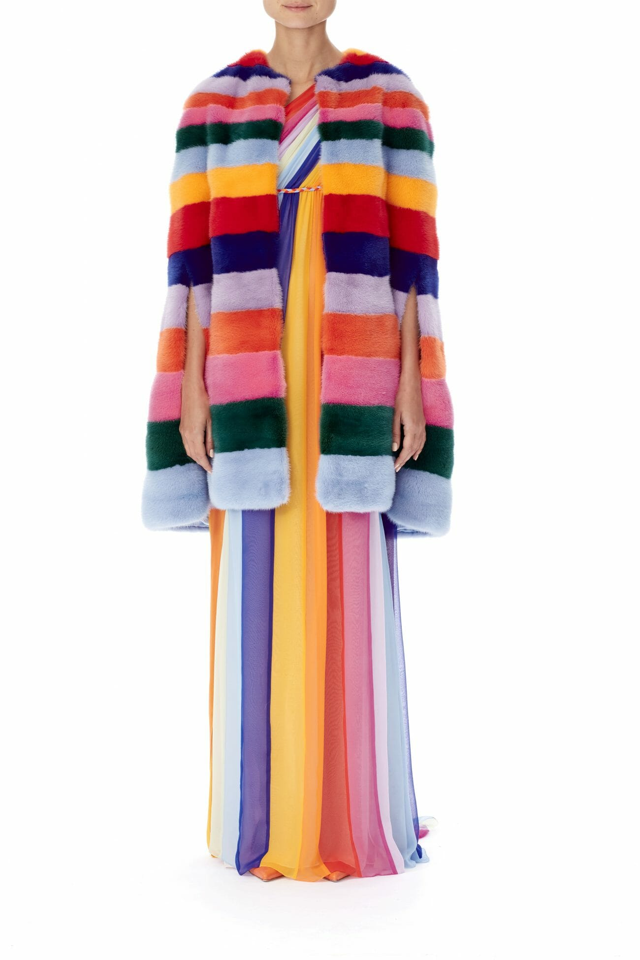 Carolina-Herrera-New-York-Resort-2019-look-157-colorful-rainbow-coat-dress-multicolor
