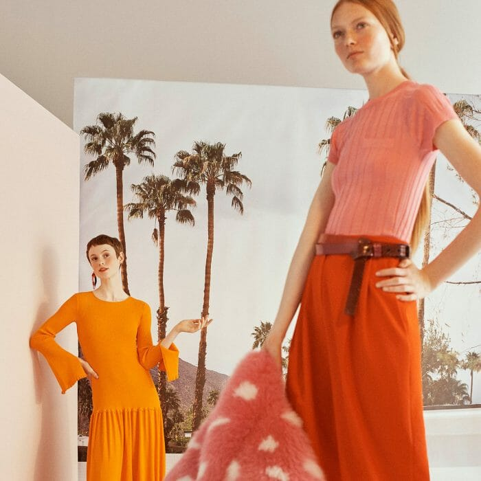 carolina_herrera_new_york_resort_2019_orange_dress_pink_shirt