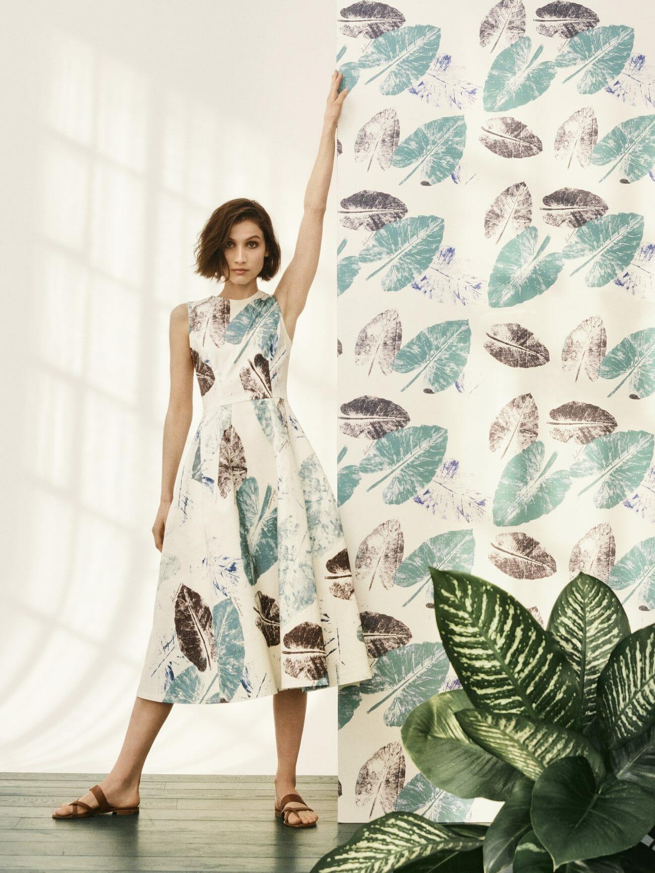 carolina herrera new york model wearing white leaf dress