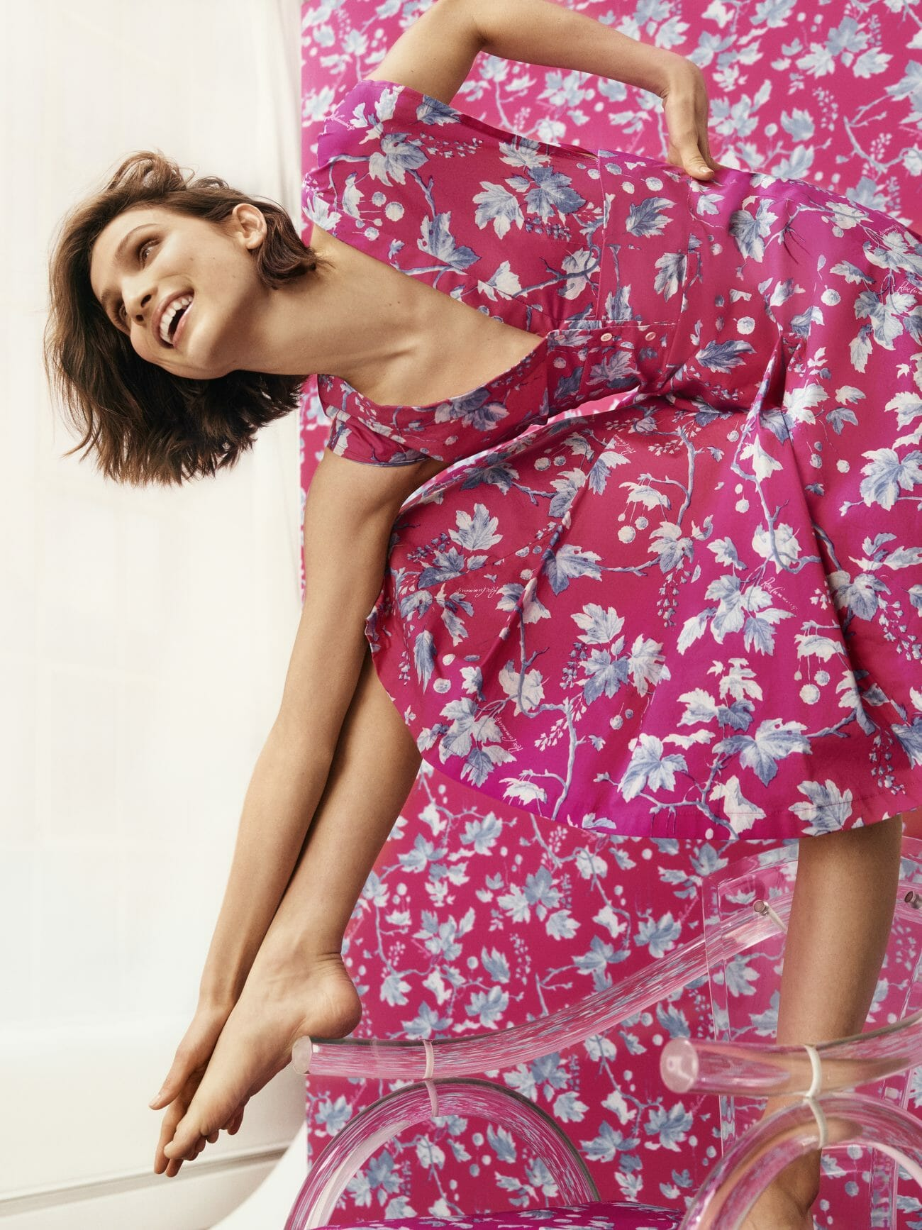 carolina herrera new york model wearing pink flower dress
