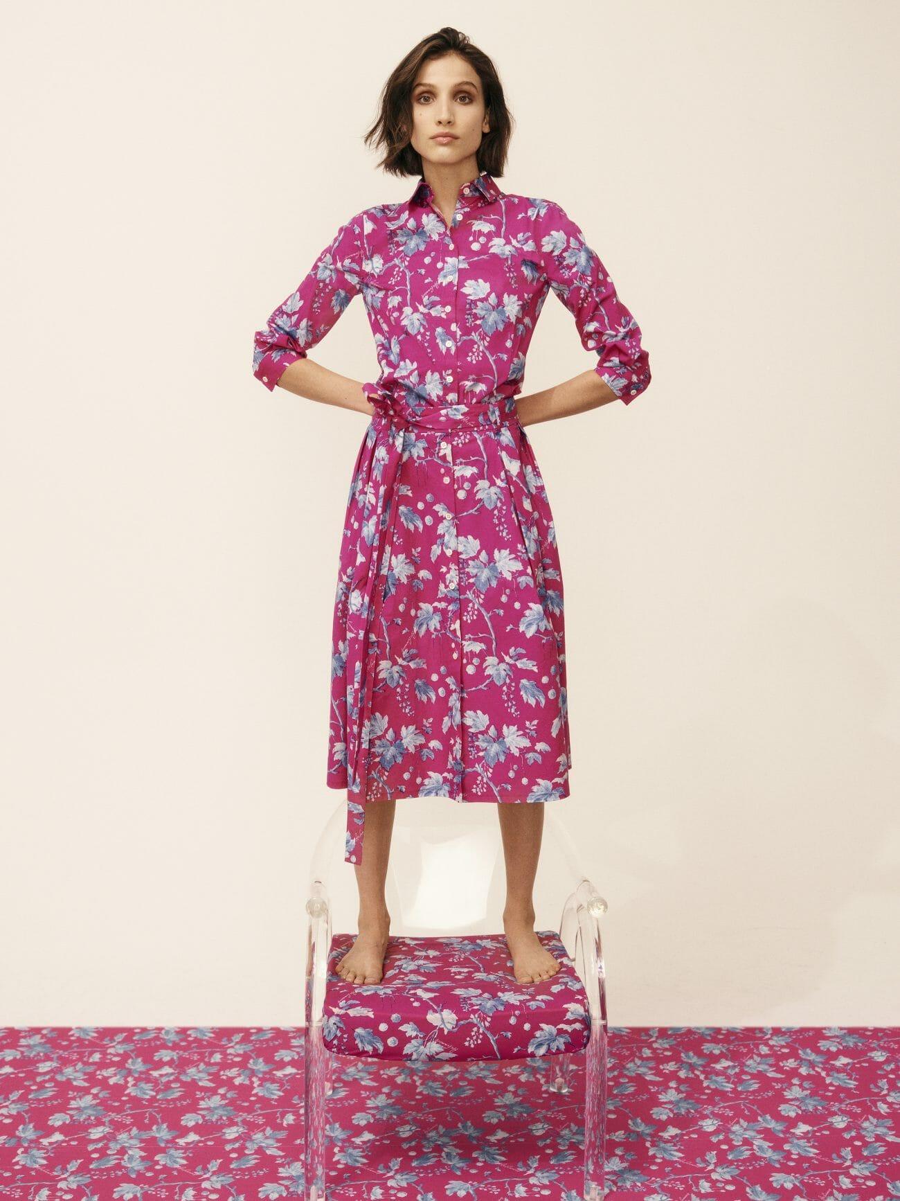 carolina herrera new york model wearing pink flower dress