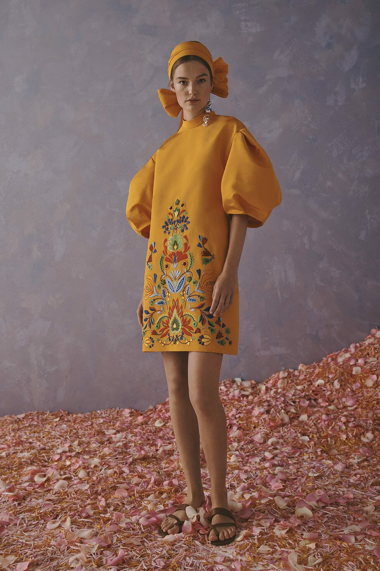 Carolina Herrera New York Resort 2020 Collection yellow flowers dress