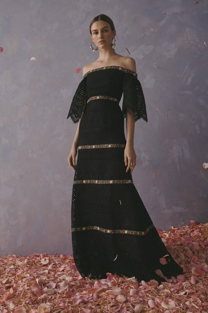 Carolina Herrera New York Resort 2020 Collection black crochet dress