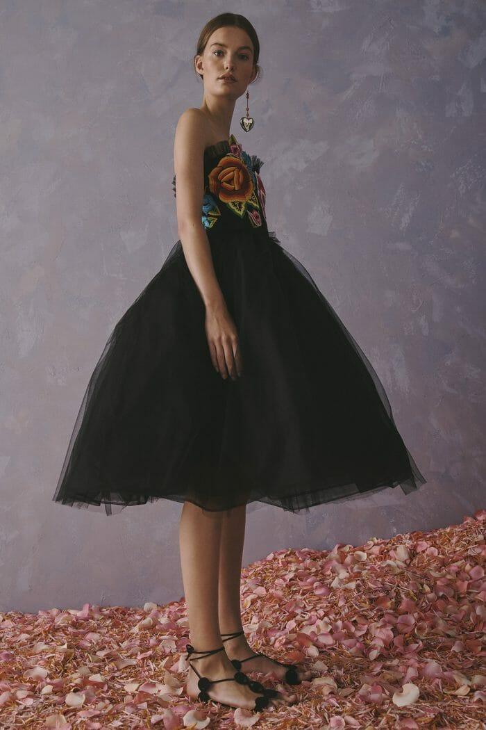 Carolina Herrera New York Resort 2020 Collection black tulle flowers dress gown