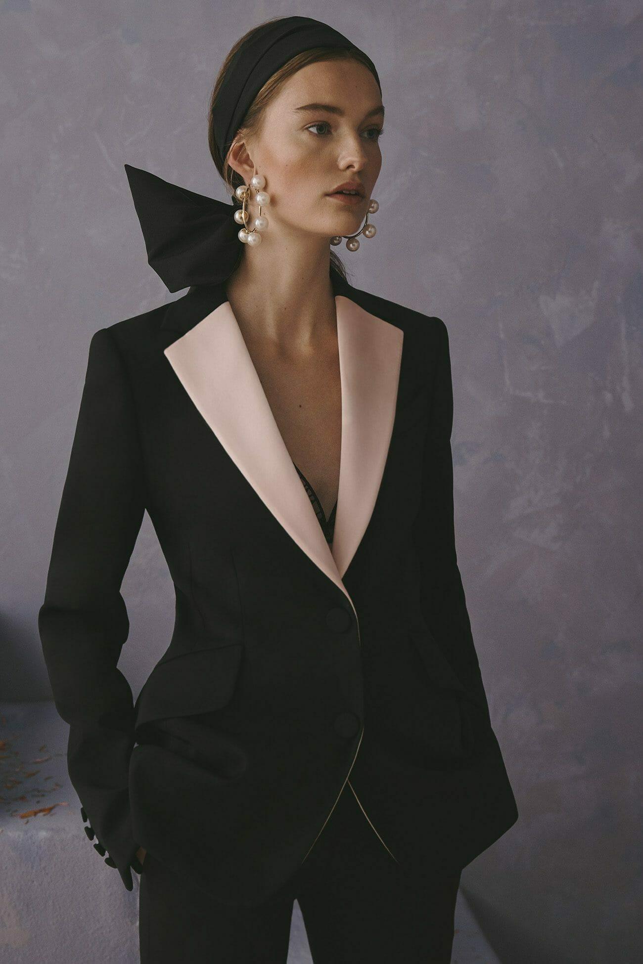 Carolina Herrera New York Resort 2020 Collection black white suit