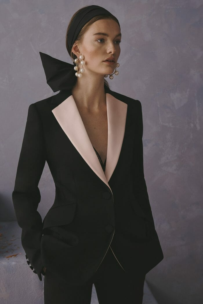 Carolina Herrera New York Resort 2020 Collection black white suit