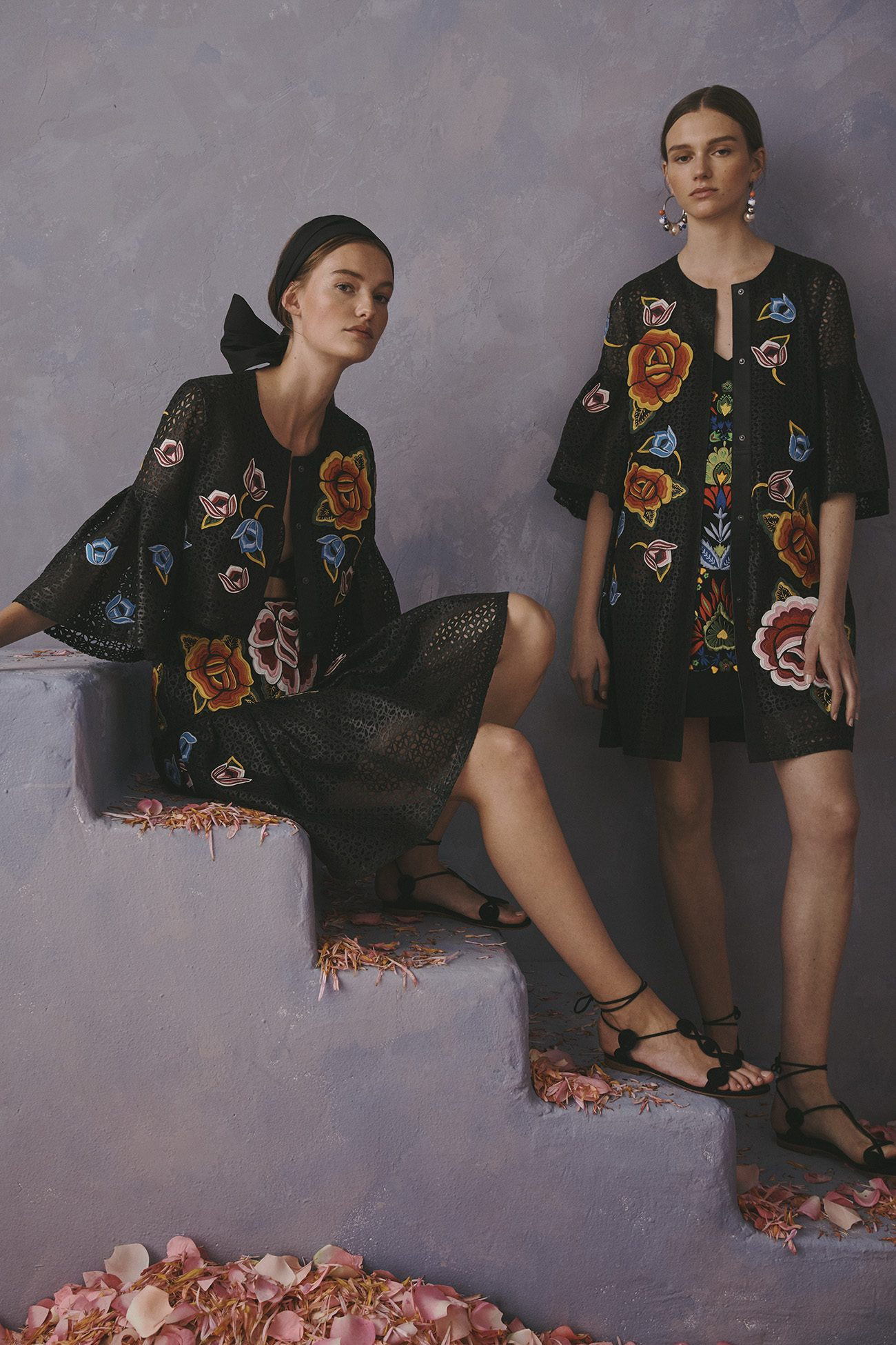 Carolina Herrera New York Resort 2020 Collection denim flowers dress