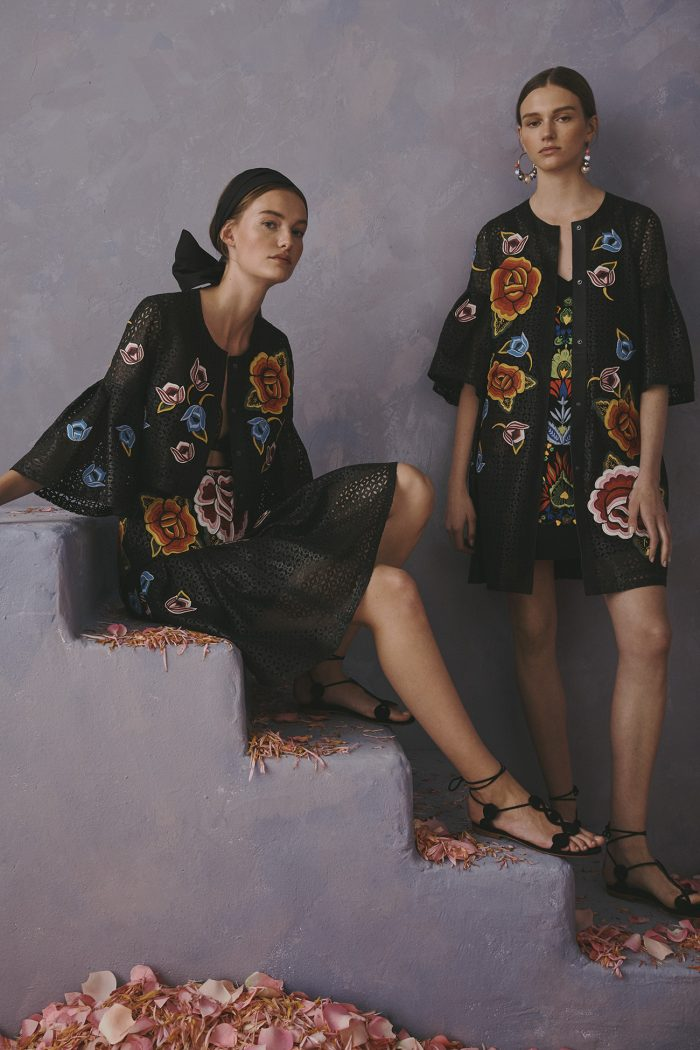 Carolina Herrera New York Resort 2020 Collection denim flowers dress