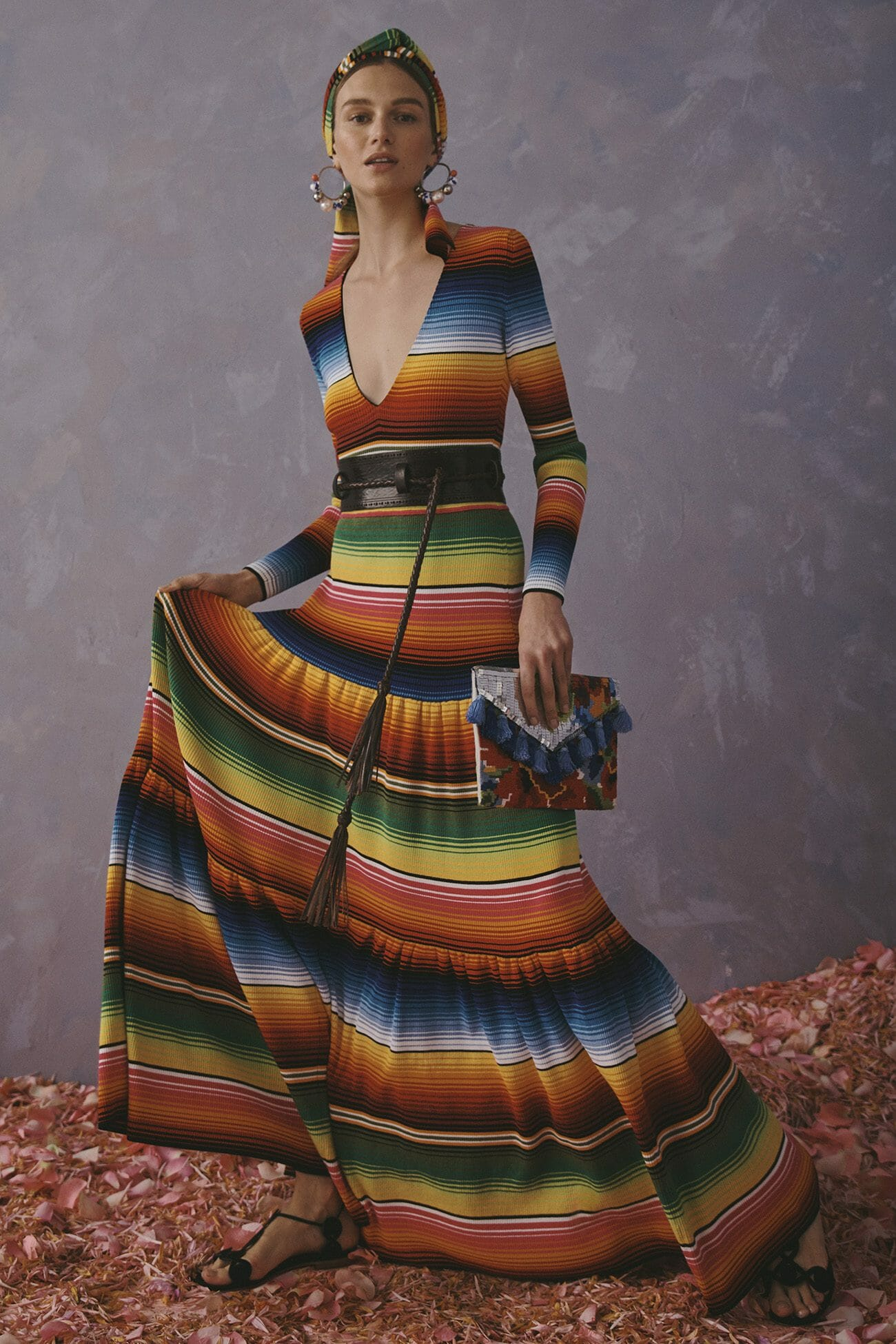 Carolina Herrera New York Resort 2020 Collection color stripes long dress
