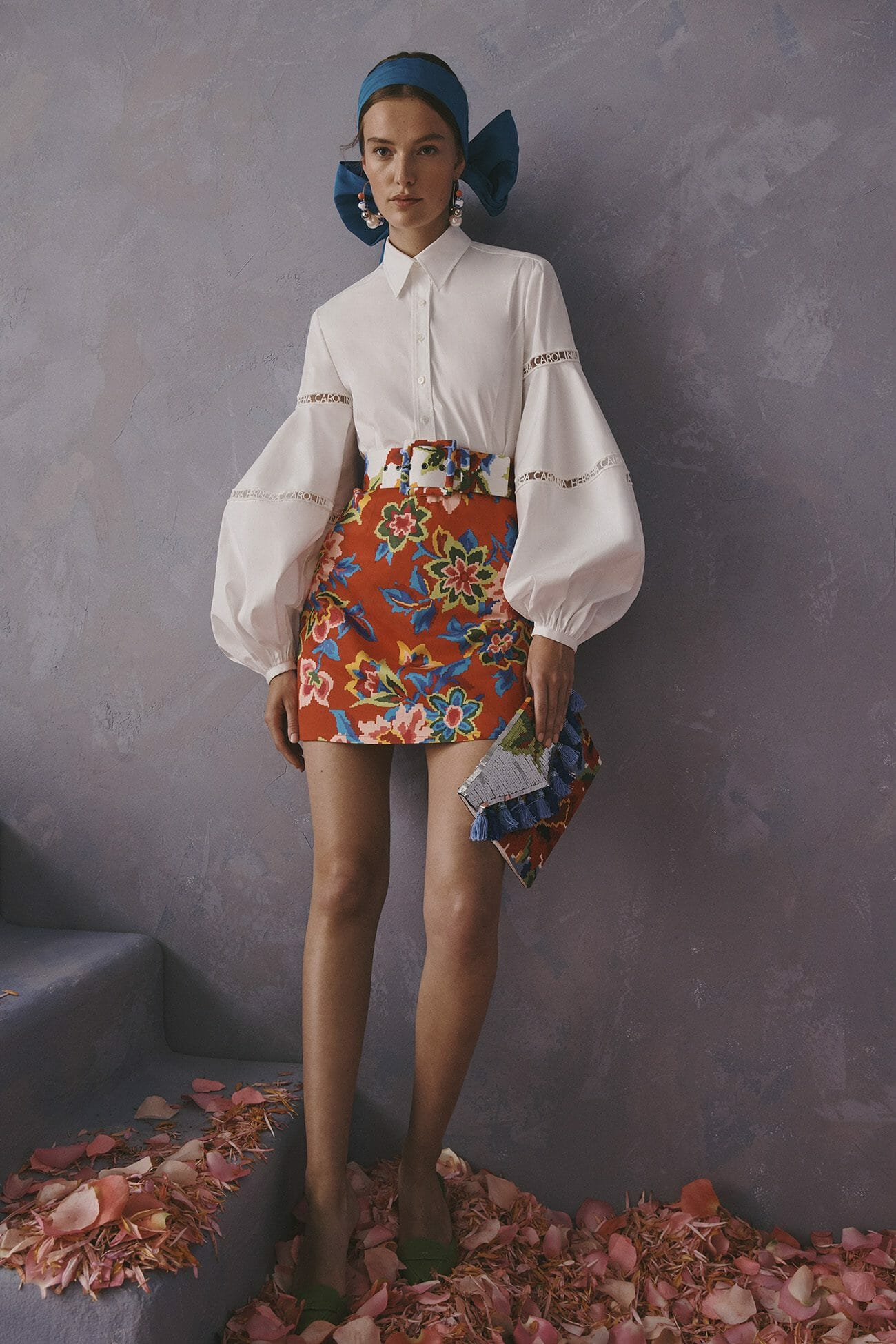 Carolina Herrera New York Resort 2020 Collection white shirt flower skirt