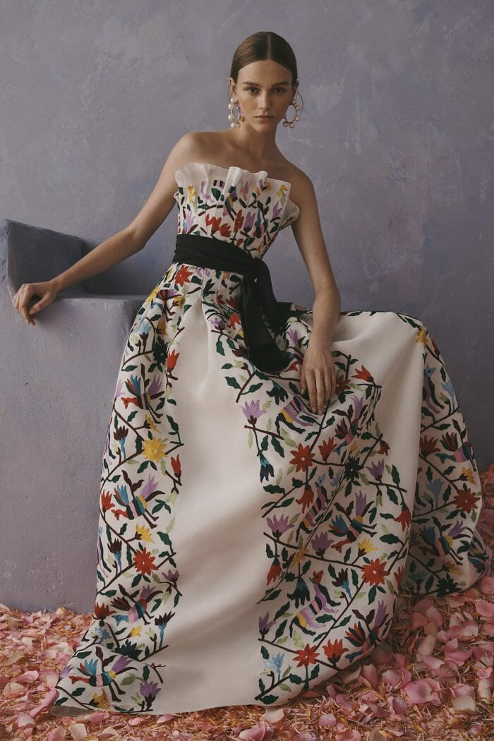 Carolina Herrera New York Resort 2020 Collection white flowers gown