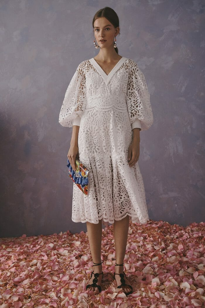 Carolina Herrera New York Resort 2020 Collection white crochet dress