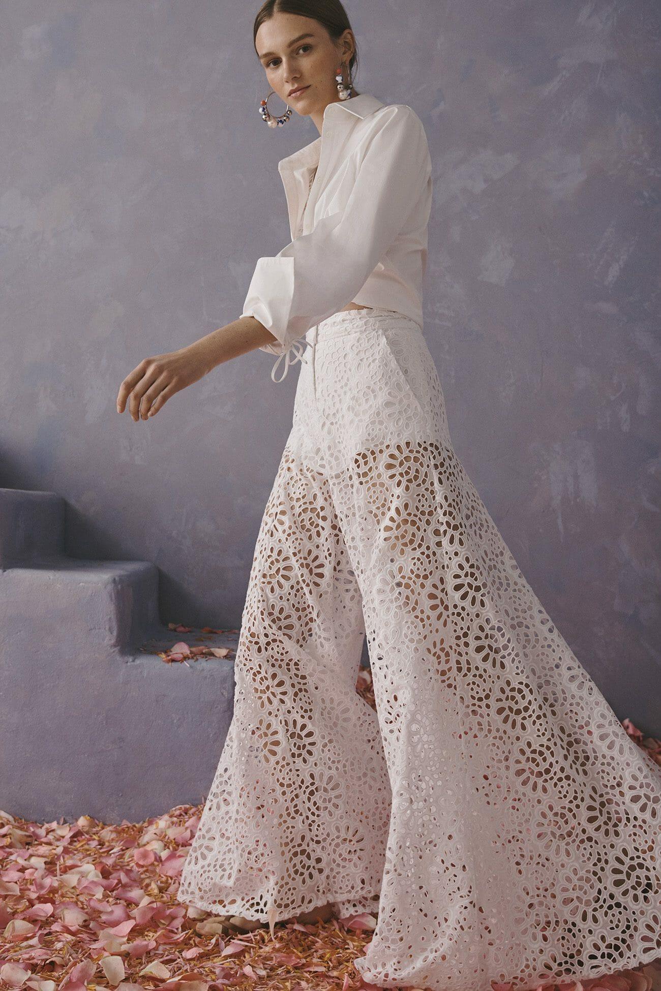 Carolina Herrera New York Resort 2020 Collection white crochet pants shirt