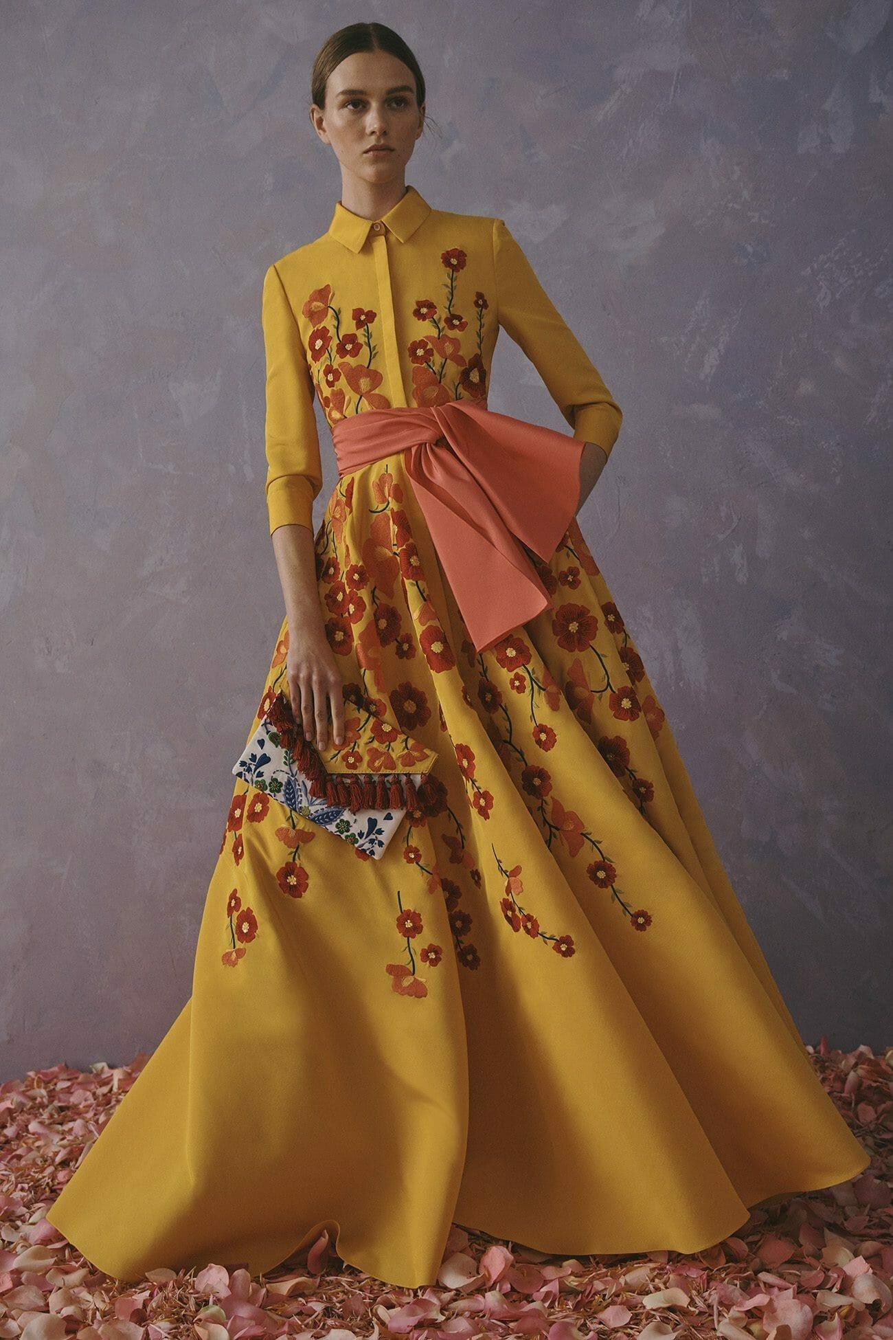 Carolina Herrera New York Resort 2020 Collection yellow flower shirt dress