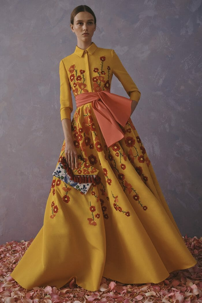 Carolina Herrera New York Resort 2020 Collection yellow flower shirt dress