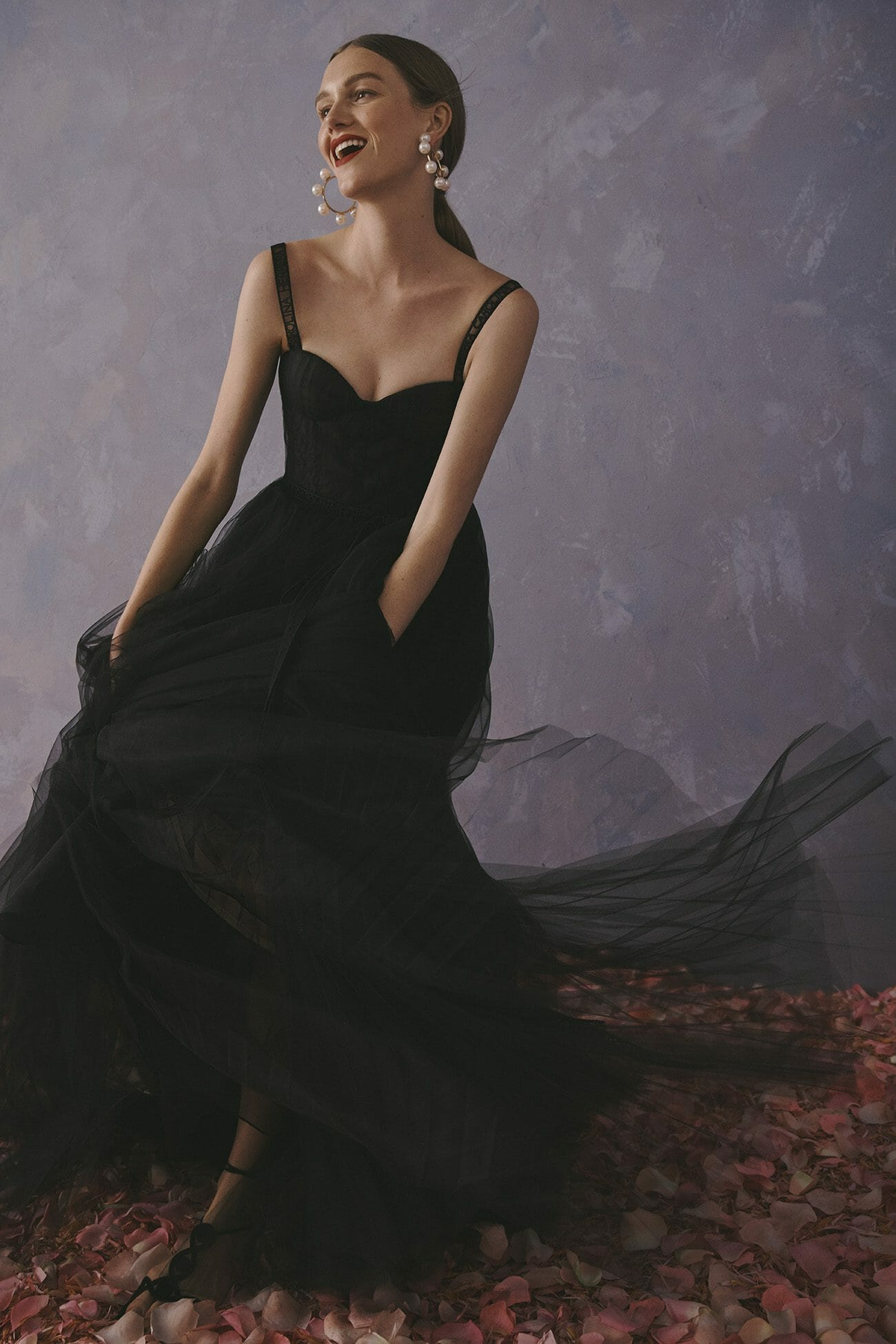 Carolina Herrera New York Resort 2020 Collection tulle black dress gown