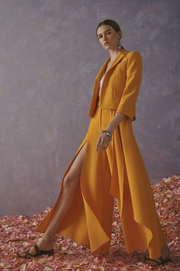 Carolina Herrera New York Resort 2020 Collection mustard suit skirt pants