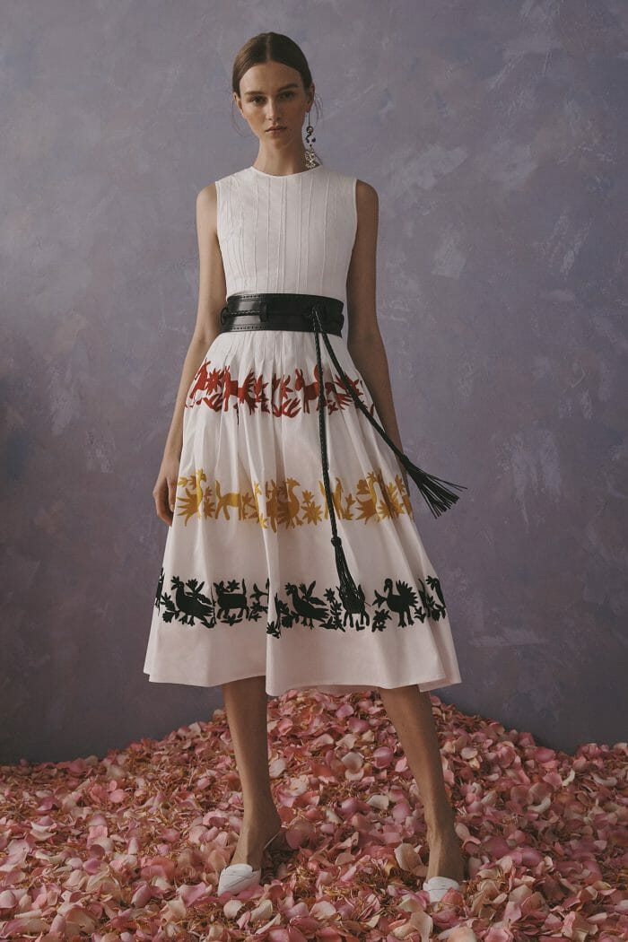 Carolina Herrera New York Resort 2020 Collection white dress with color patterns