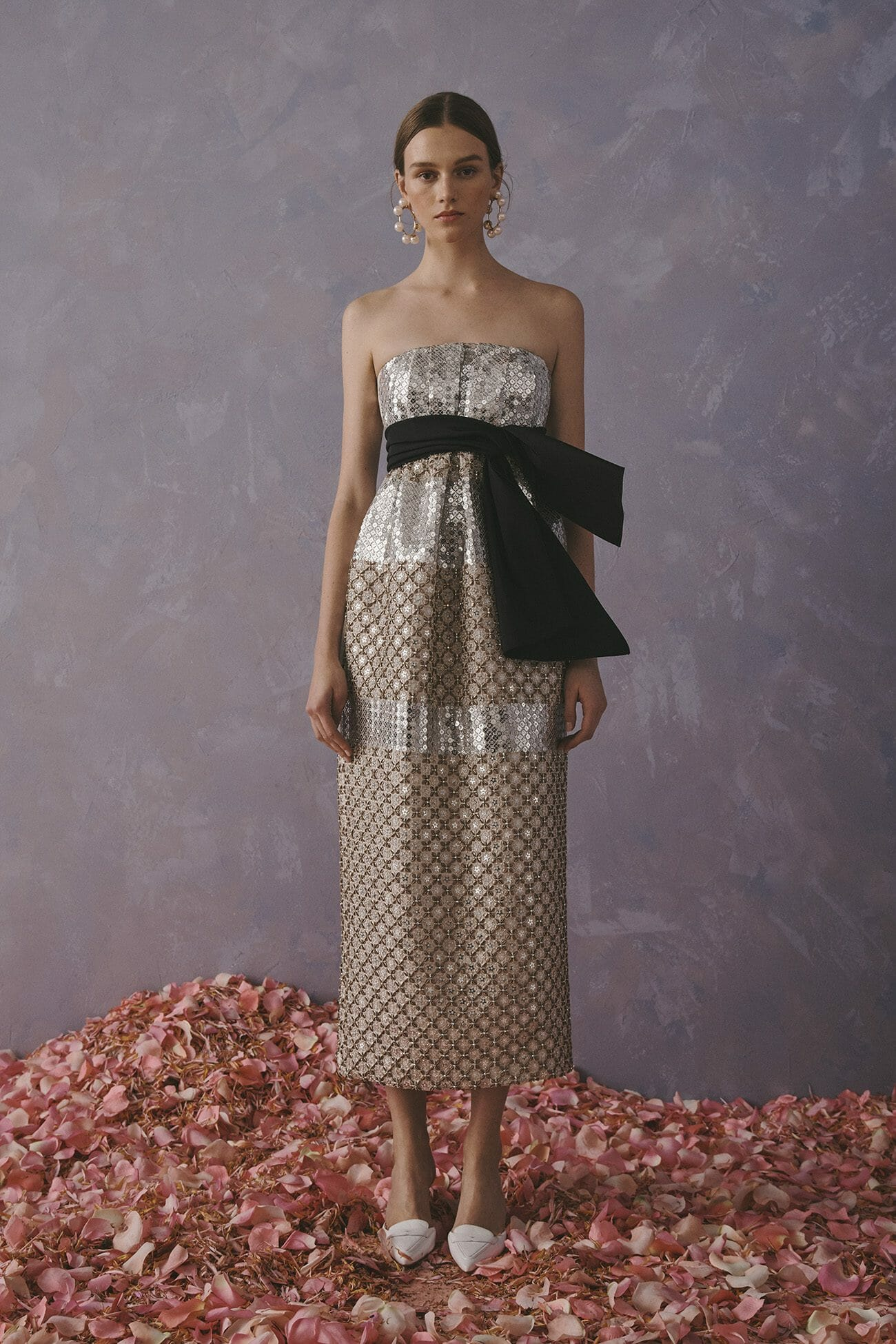Carolina Herrera New York Resort 2020 Collection crochet glitter long strapless neckline dress