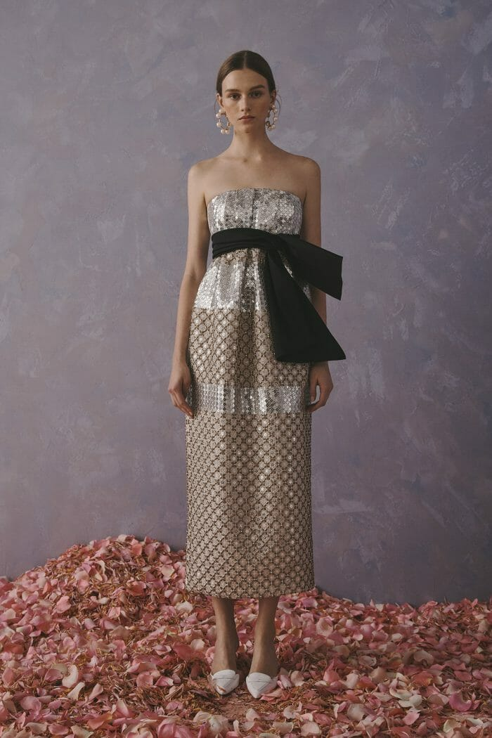 Carolina Herrera New York Resort 2020 Collection crochet glitter long strapless neckline dress