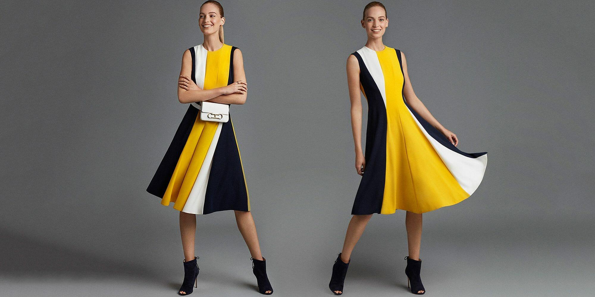 ch carolina herrera women wearing black white yellow dress insignia bag light dots
