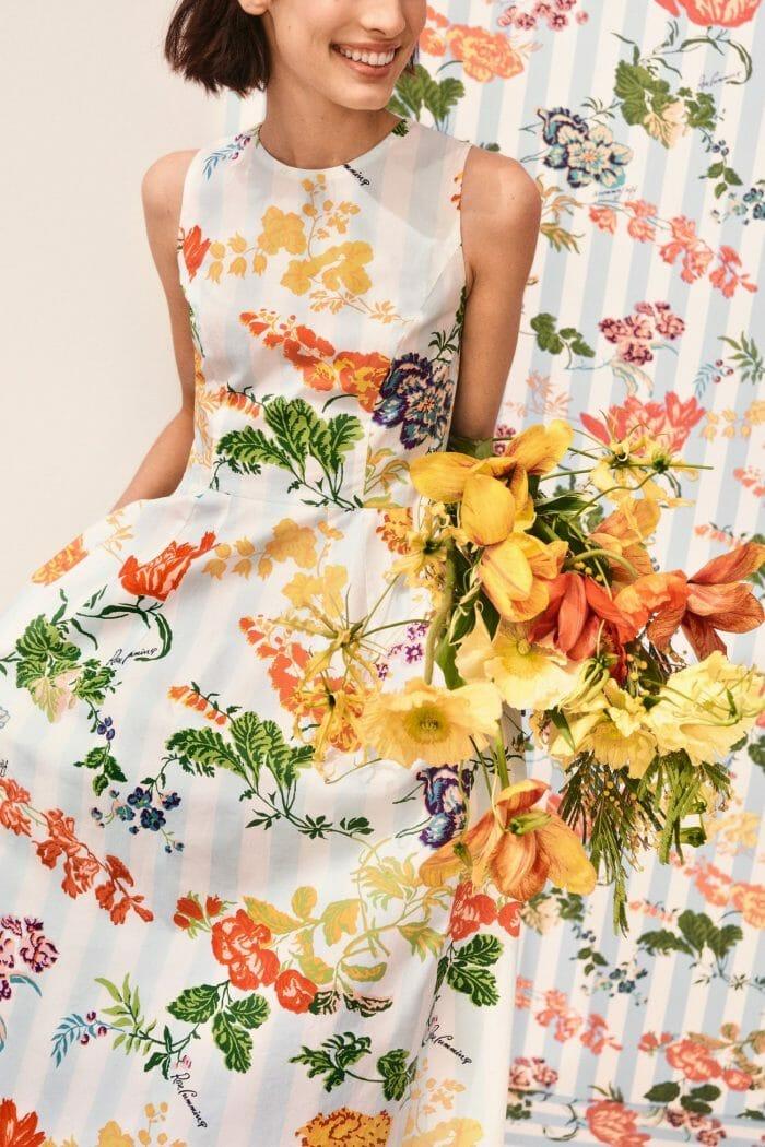 carolina herrera new york model wearing flower dress color rose cumming