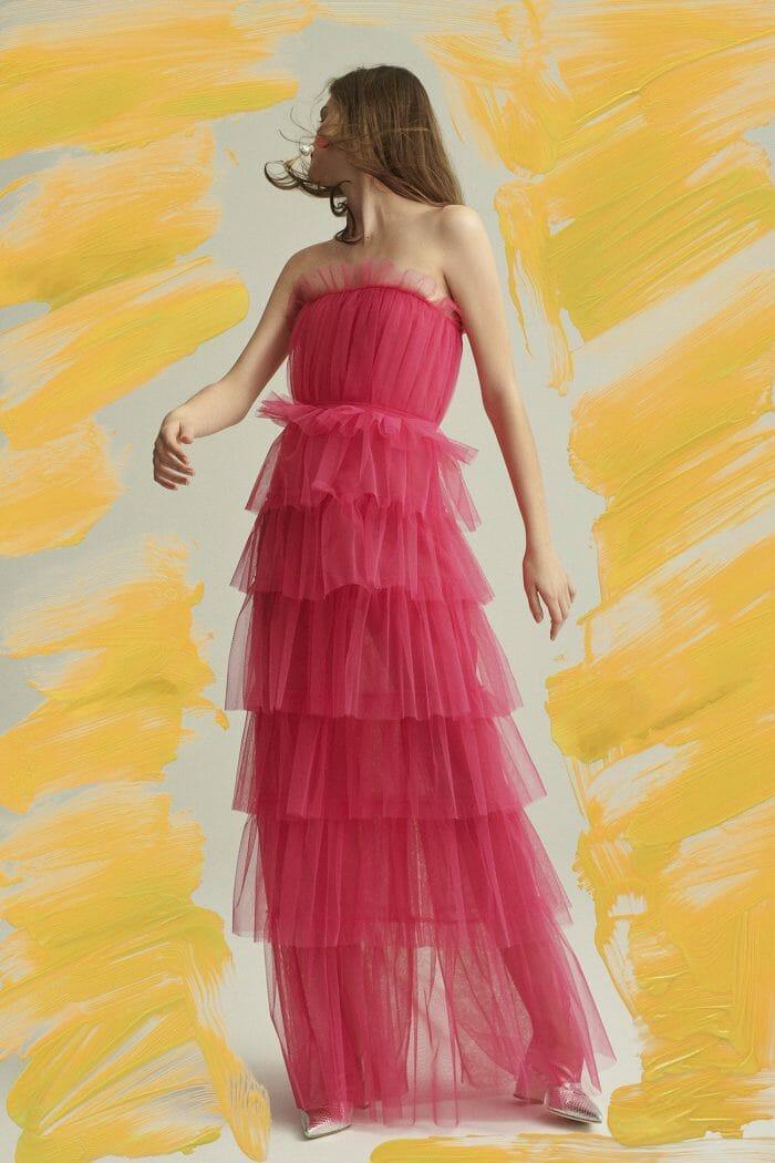 carolina herrera new york model wearing pink gown dress
