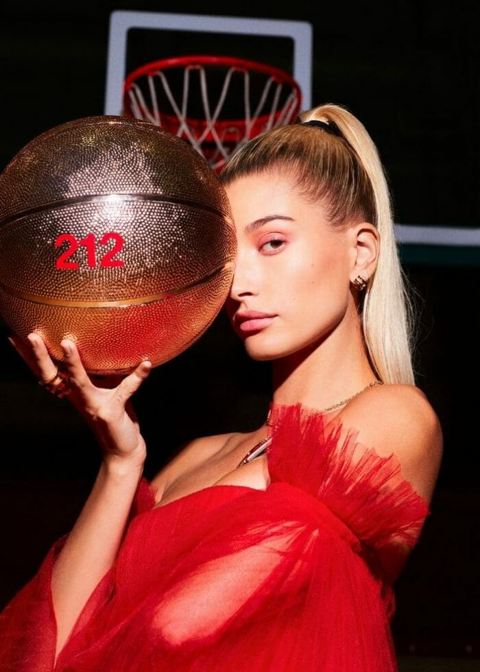 212 sport collector edition hailey baldwin basketball red gown tulle