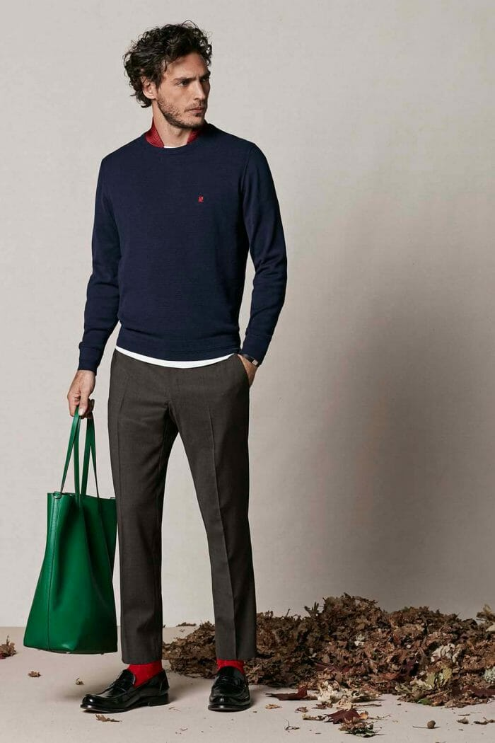 CH Carolina Herrera. New menswear collection Autumn Tales, featured with Matryoshka bag. Look 11