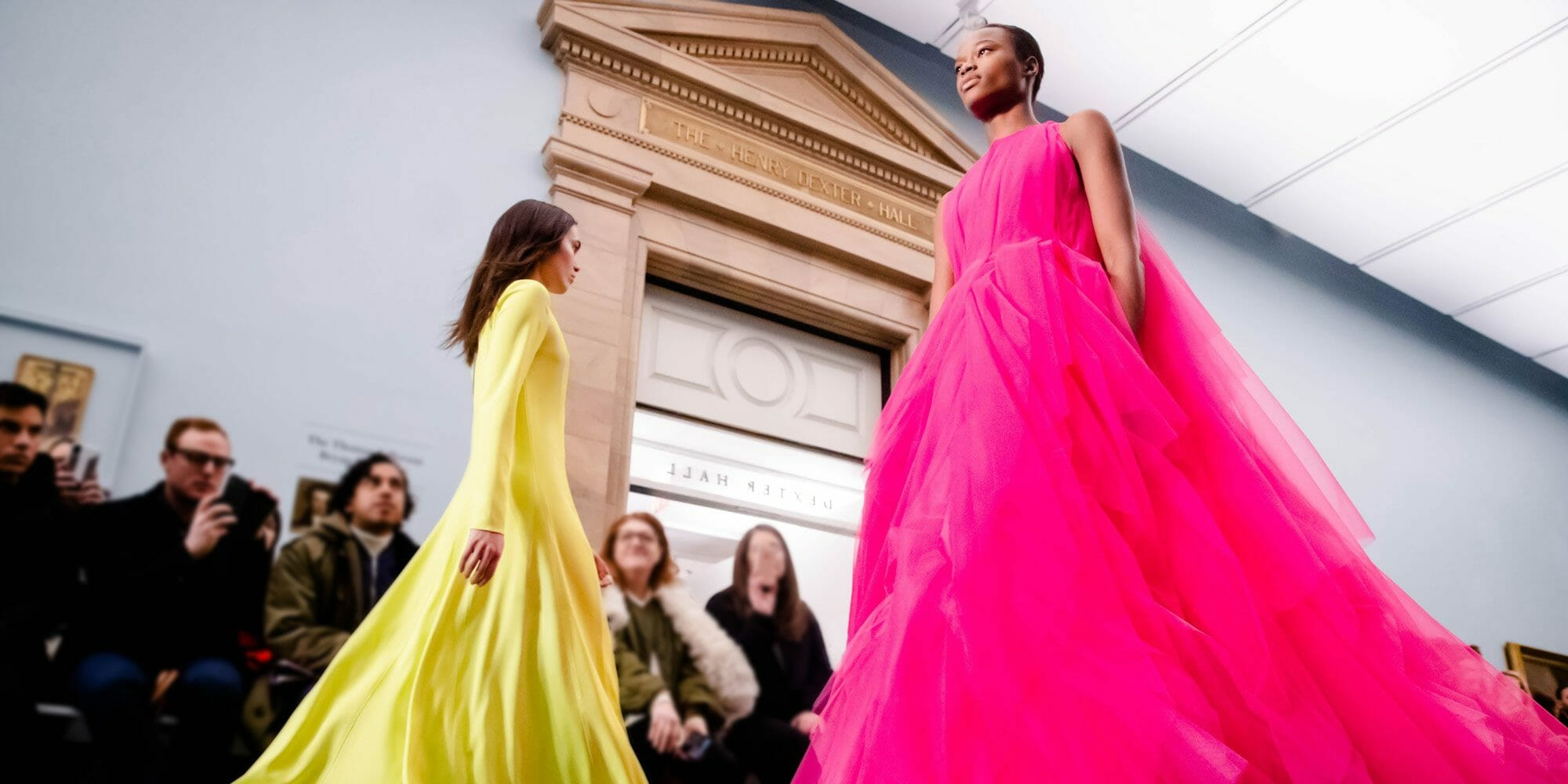 carolina herrera new york fall 2019 collection gown tulle pink dress yellow