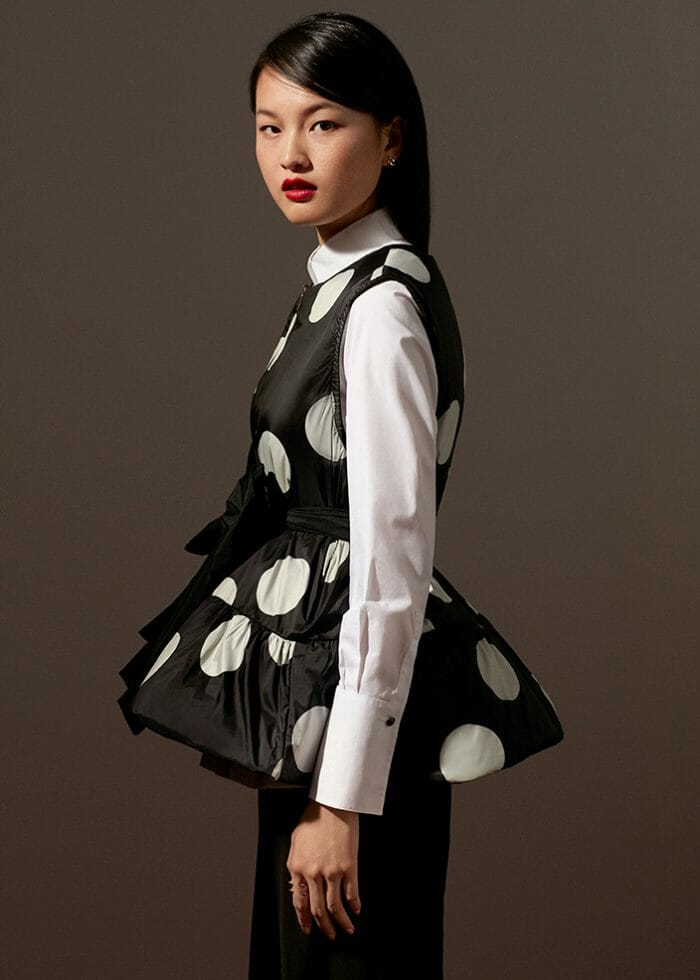 ch carolina herrera chelsea collection model wearing polka dots shirt
