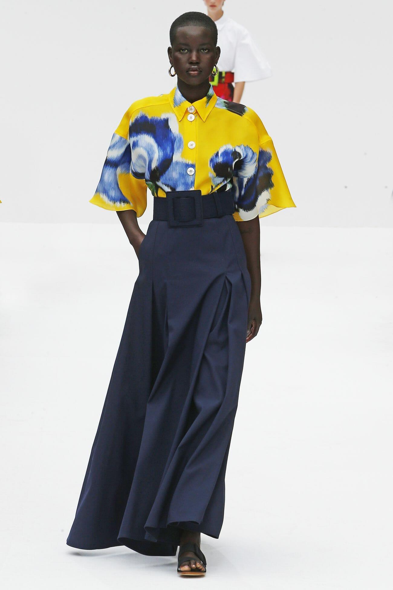 Carolina Herrera New York yellow top navy skirt