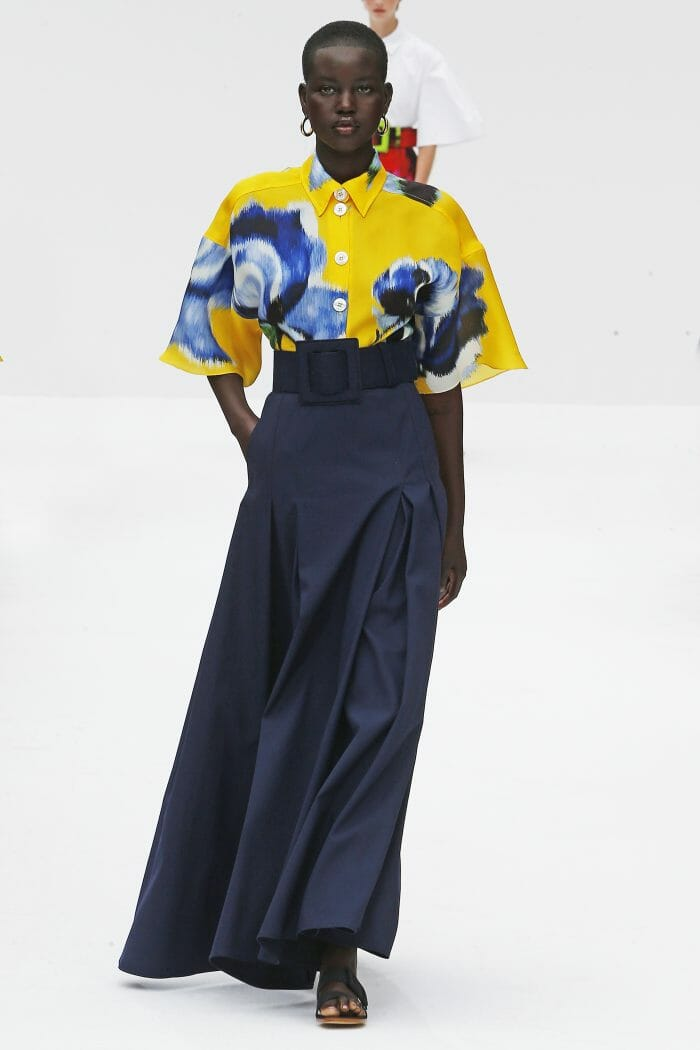 Carolina Herrera New York yellow top navy skirt