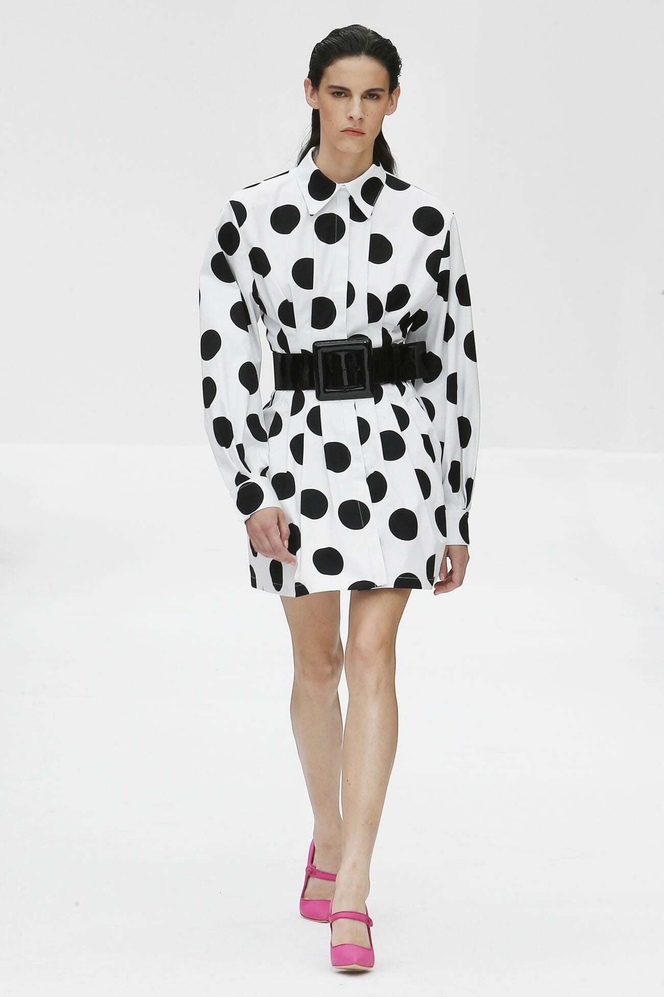 Carolina Herrera New York polka dots white dress