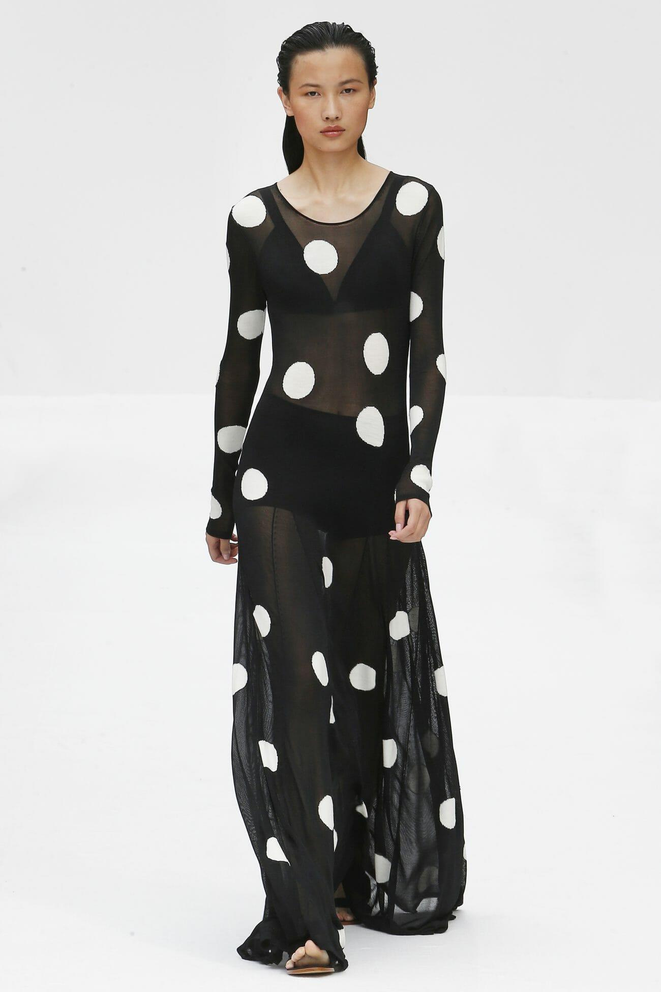 Carolina Herrera New York polka dots black dress