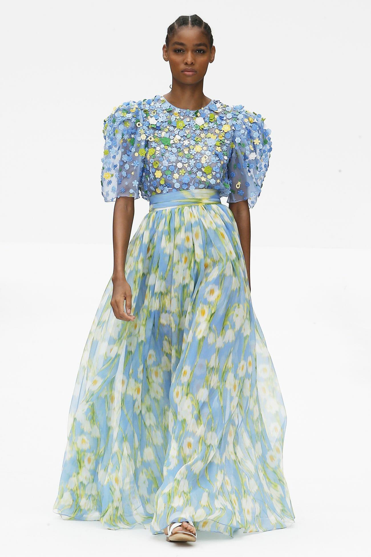 Carolina Herrera New York blue floral dress