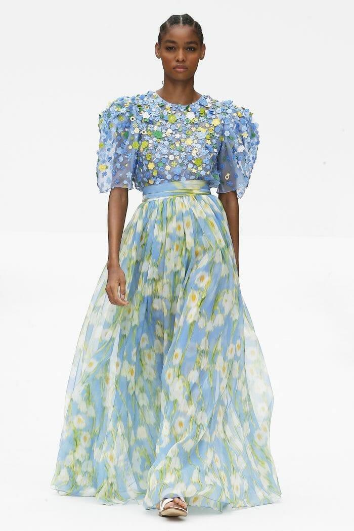 Carolina Herrera New York blue floral dress