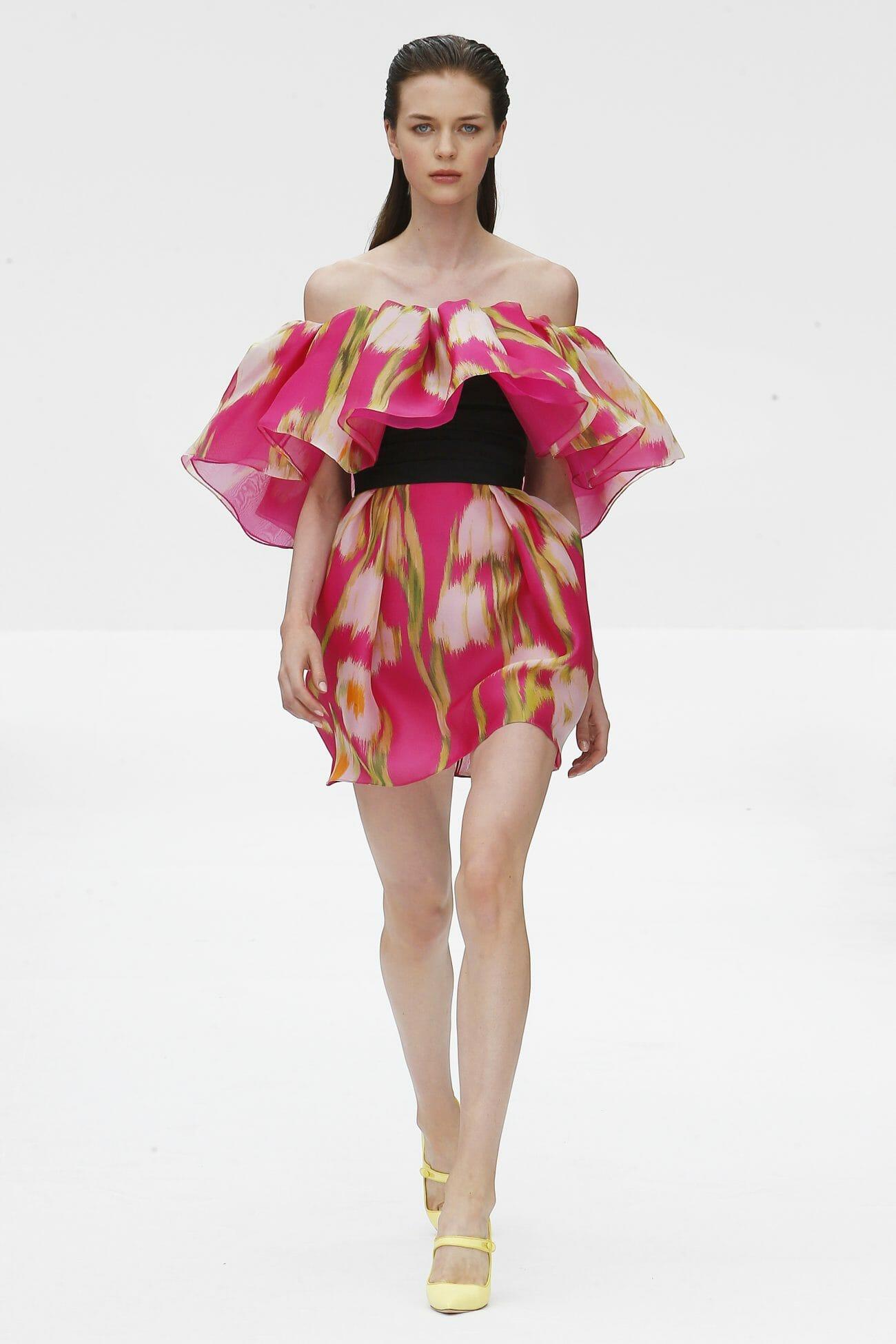 Carolina Herrera New York pink floral mini dress